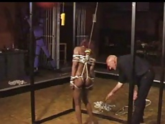 ebony catholic tied and caged