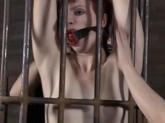 Tied up cosset waits lustily