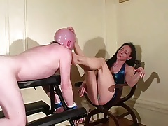 Mistress Trish laughs at him..