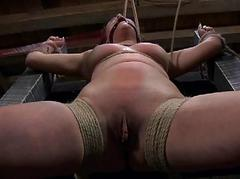 Gagged beauty with clamped..