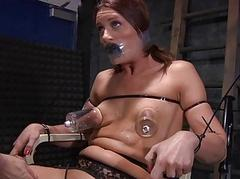 Clamped babe gets her fuck..