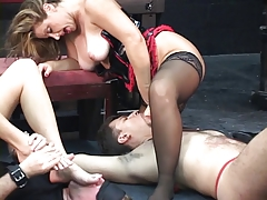 Two mistresses let their..