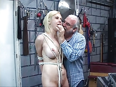 BDSM pale blonde with clamp..