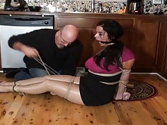 JJ Plush housewife hogtied