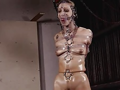 Sexy girl tied tight nearly..