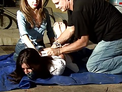 Women hogtied and gagged in..