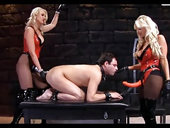 Strapon femdom two blondes..
