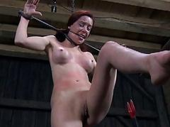 Tough girl is hoisted up..
