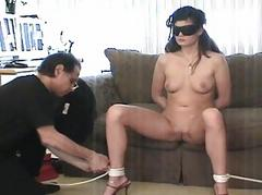 Sexy bitch gets hog tied..