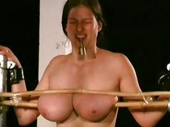 Agonizing big tittied girl