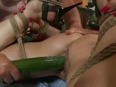 Hot girl gets tied more with..