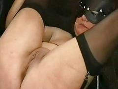 Crying slave round big tits..