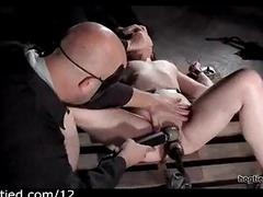 Bound babe flogged and toyed..