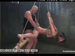 Bondage brunette babe gives..