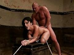 Mature man ties hot brunette..