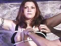 Sexy bitch gets hog tied and..