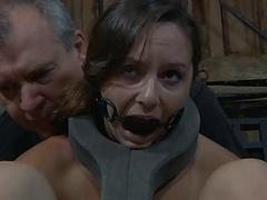 Taming a lusty gagged babe..