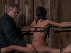 Caged babe forced to give..