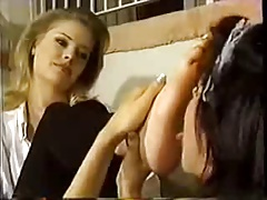 Maid provides foot worship