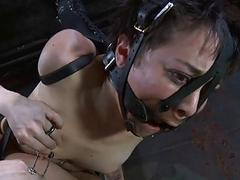 Gagged stunner made to submit