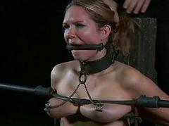 Tied up tits around toy..